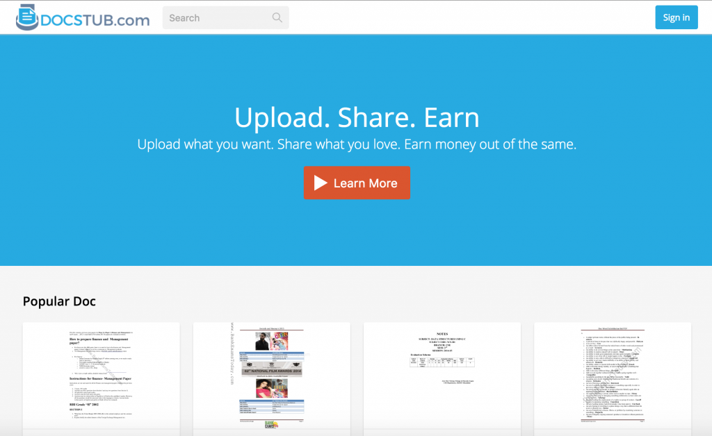 docstub.com - upload share earn | Best 10 Documents Sharing Websites
